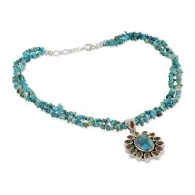 Opulent Indian Necklace with Citrine and Turquoise