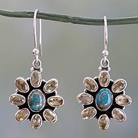 Turquoise and citrine dangle earrings, 'Sunny Sky' (India)
