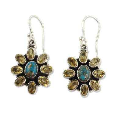 Fair Trade Indian Earrings with Citrine and Turquoise