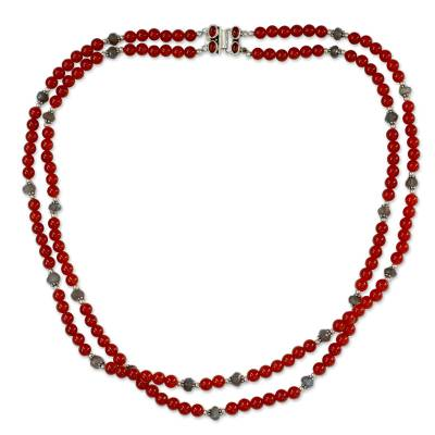 Double Carnelian Strand Beaded Necklace with Labradorite