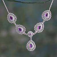 Amethyst Y-necklace, 'Bangalore Lilac' - India Handcrafted Sterling Jali Necklace with Amethyst