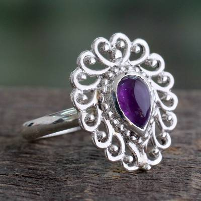 garnet rings with jtv - India Handcrafted Sterling Jali Ring with Amethyst