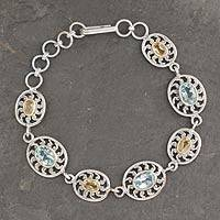 Citrine and blue topaz link bracelet, 'Radiance' - India Silver Bracelet with Citrine and Blue Topaz