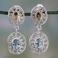 Citrine and blue topaz dangle earrings,