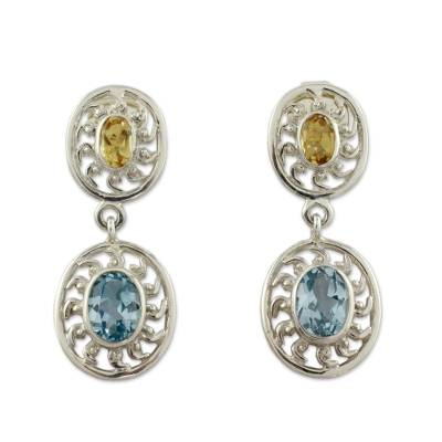 Artisan Crafted Silver Earrings with Citrine and Blue Topaz