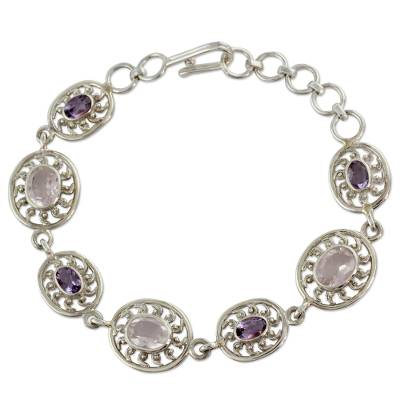 Indian Silver Bracelet with Amethyst and Rose Quartz