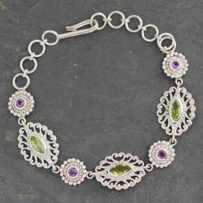 Peridot and amethyst link bracelet, 'Andaman Fern Forest' - Silver Jali Bracelet with Faceted Peridot and Amethysts