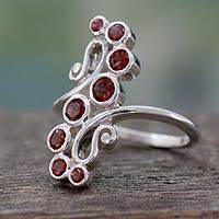 Garnet cocktail ring, 'Scarlet Tendrils' - Handcrafted Silver Statement Cocktail Ring with 8 Garnets