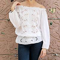 Cotton blouse, 'Feminine Grace' - White Cotton Blouse with Lavish Machine Embroidery