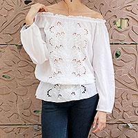 Cotton blouse, 'Feminine Grace'