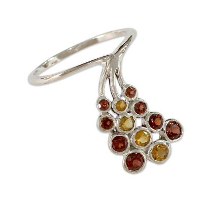 Unique Garnet and Citrine Sterling Silver Cocktail Ring