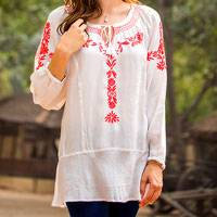 Embroidered tunic, 'Coral Garden' - White Viscose Tunic Blouse with Red Floral Embroidery