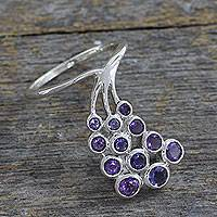 Amethyst and iolite cocktail ring, 'Fascinator in Violet' - Amethyst and Iolite Multi-Stone Ring Hand Made in India