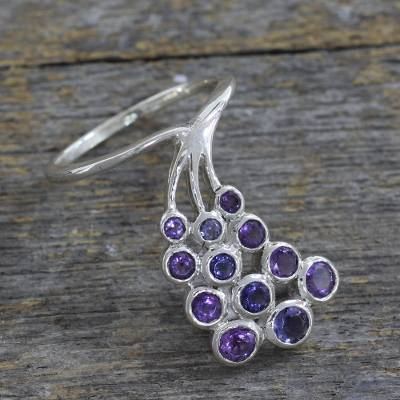 Amethyst and Iolite Multi-Stone Ring Hand Made in India