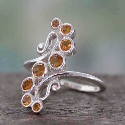 Handcrafted Silver Statement Cocktail Ring with 8 Citrines