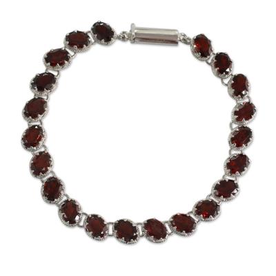 Garnet 21 Carat Tennis Bracelet in Sterling Silver