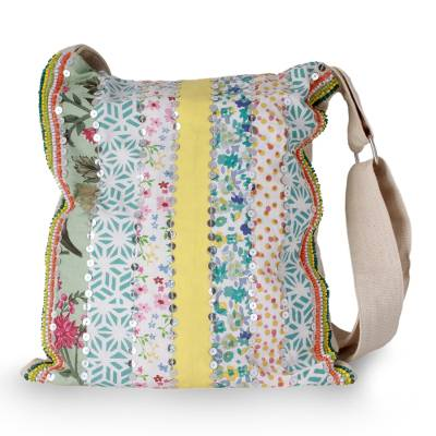 Embellished cotton shoulder bag, 'Garden Path' - Handmade Floral Cotton Shoulder Bag from India