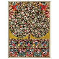 Madhubani painting, 'One with Nature IV' - Colorful Indian Madhubani Painting of Tree of Life
