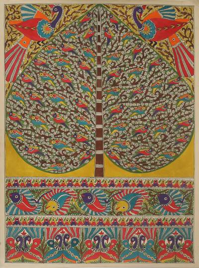 Colorful Indian Madhubani Painting of Tree of Life