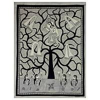 Madhubani painting, 'Mischievous Krishna' - Black and White Indian Madhubani Painting of Krishna