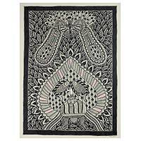 Madhubani painting, 'Unity in Nature' - Original Madhubani Style Painting on Handmade Paper