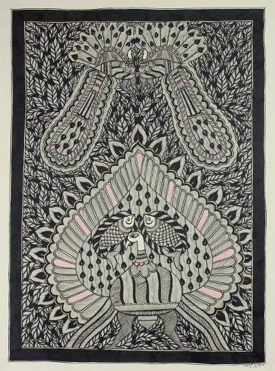 Original Madhubani Style Painting on Handmade Paper
