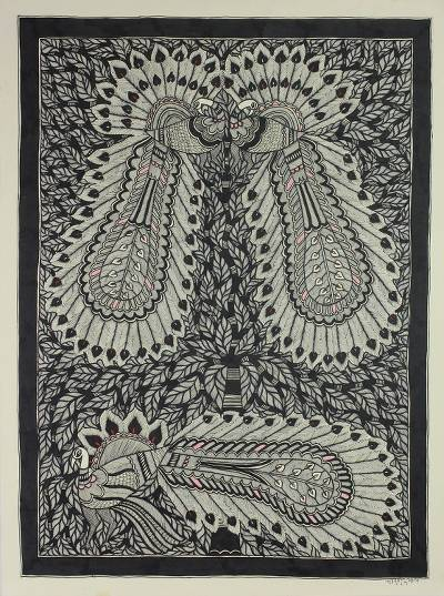 Peacock Theme Madhubani Painting from India