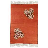 Cotton area rug, 'Floral Greeting' (2x3) - Orange Cotton Area Rug with Wool Floral Embroidery (2x3)