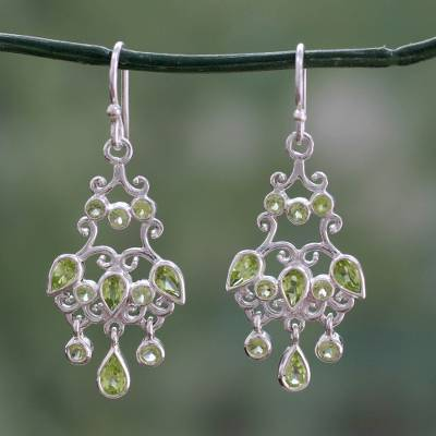 Peridot chandelier earrings, 'Spring Dance' - Handcrafted 7 Carat Peridot Chandelier Earrings