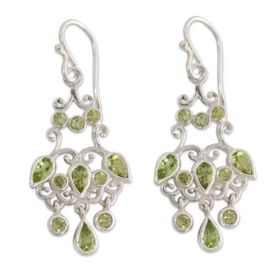 Handcrafted 7 Carat Peridot Chandelier Earrings