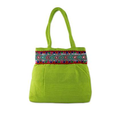 Bright Lime Green Cotton Shoulder Bag from India