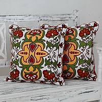 Applique cushion covers, 'Floral Ecstasy' (pair) - Fair Trade Multicolor Applique Floral Pillow Covers (pair)