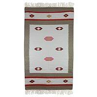 Wool dhurrie rug, 'Dreamy Delight' (3x5) - Taupe and Light Blue Area Rug Handwoven from Wool (3x5)