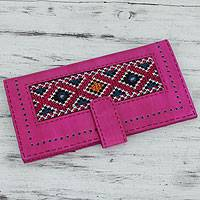 Embroidered leather wallet, 'Flamboyant Fuchsia' - Women's Long Embroidered Leather Wallet in Hot Pink