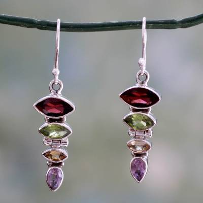 Multi-gemstone dangle earrings, 'Fantastic Quartet' - Gemstone Dangle Earrings with Garnet and Peridot