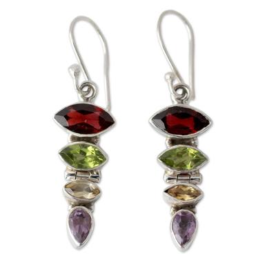 Gemstone Dangle Earrings with Garnet and Peridot