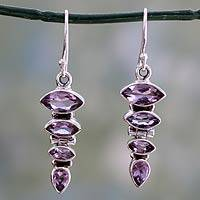 Amethyst dangle earrings, 'Mystical Quartet' - Sterling Silver and Amethyst Dangle Earrings from India