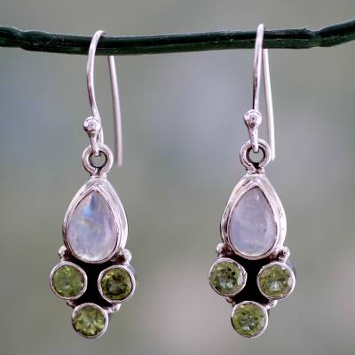 Rainbow moonstone and peridot dangle earrings, 'Moonlit Meadow' - Rainbow Moonstone and Peridot Dangle Earrings