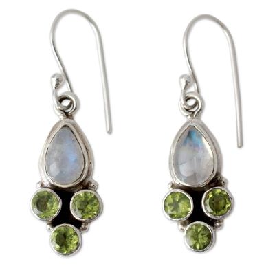 Rainbow Moonstone and Peridot Dangle Earrings