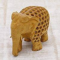 Wood statuette, 'Magnificent Elephant' - Hand Carved Small Kadam Wood Elephant Statuette