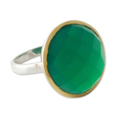 Cocktail Ring with Green Onyx in Sterling Silver and Gold