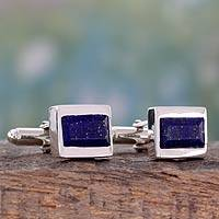 Lapis lazuli cufflinks, 'Royal Enigma' - Artisan Crafted Lapis Lazuli and Sterling Silver Cufflinks