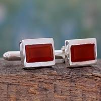 Red onyx cufflinks, 'Sunset Muse' - Handmade Red Onyx Cufflinks Set in Sterling Silver