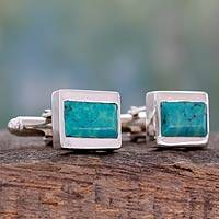 Sterling silver cufflinks, 'Ancient Muse' - Sterling Silver and Reconstituted Turquoise Cufflinks