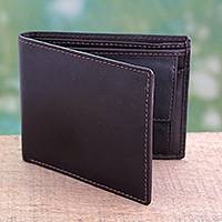 Men's leather wallet, 'Executive Brown' - Modern Handcrafted Brown Leather Wallet for Men