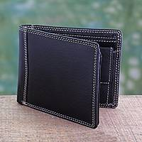 Men's leather wallet, 'Suave Black' - Men's Black Leather Wallet with Coin Purse and Multi Pockets
