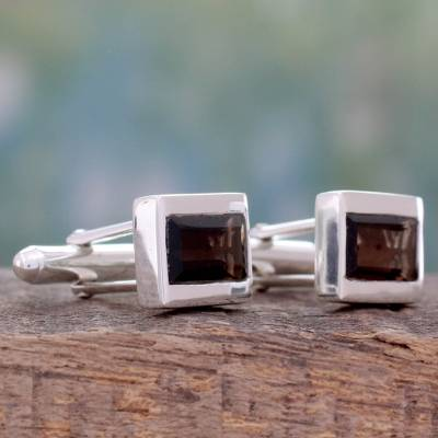 Smoky quartz cufflinks, 'Misty Dusk' - Fair Trade Smoky Quartz and 925 Silver Men's Cufflinks