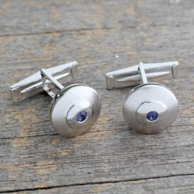 Iolite cufflinks, Serene Strength