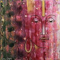 'Shiva, the Yogi' - Shiva, the Yogi Themed Original Oil Painting on Canvas