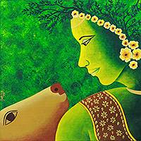 'Faith II' - Hindu Themed Original Painting of Shepherdess and Cow